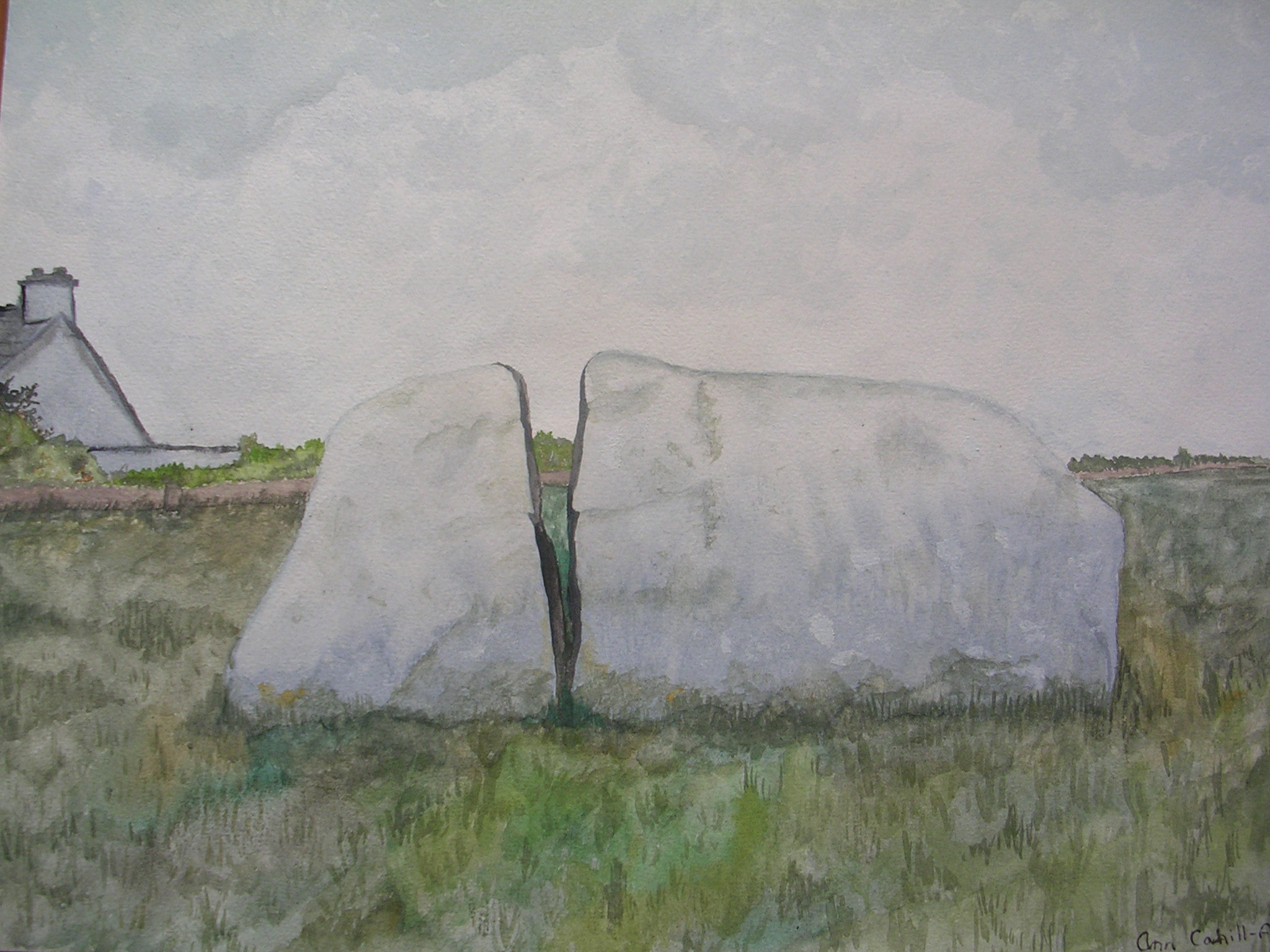 Split Rock, Easky as an example of muted landscape using W&N Cotman watercolours
