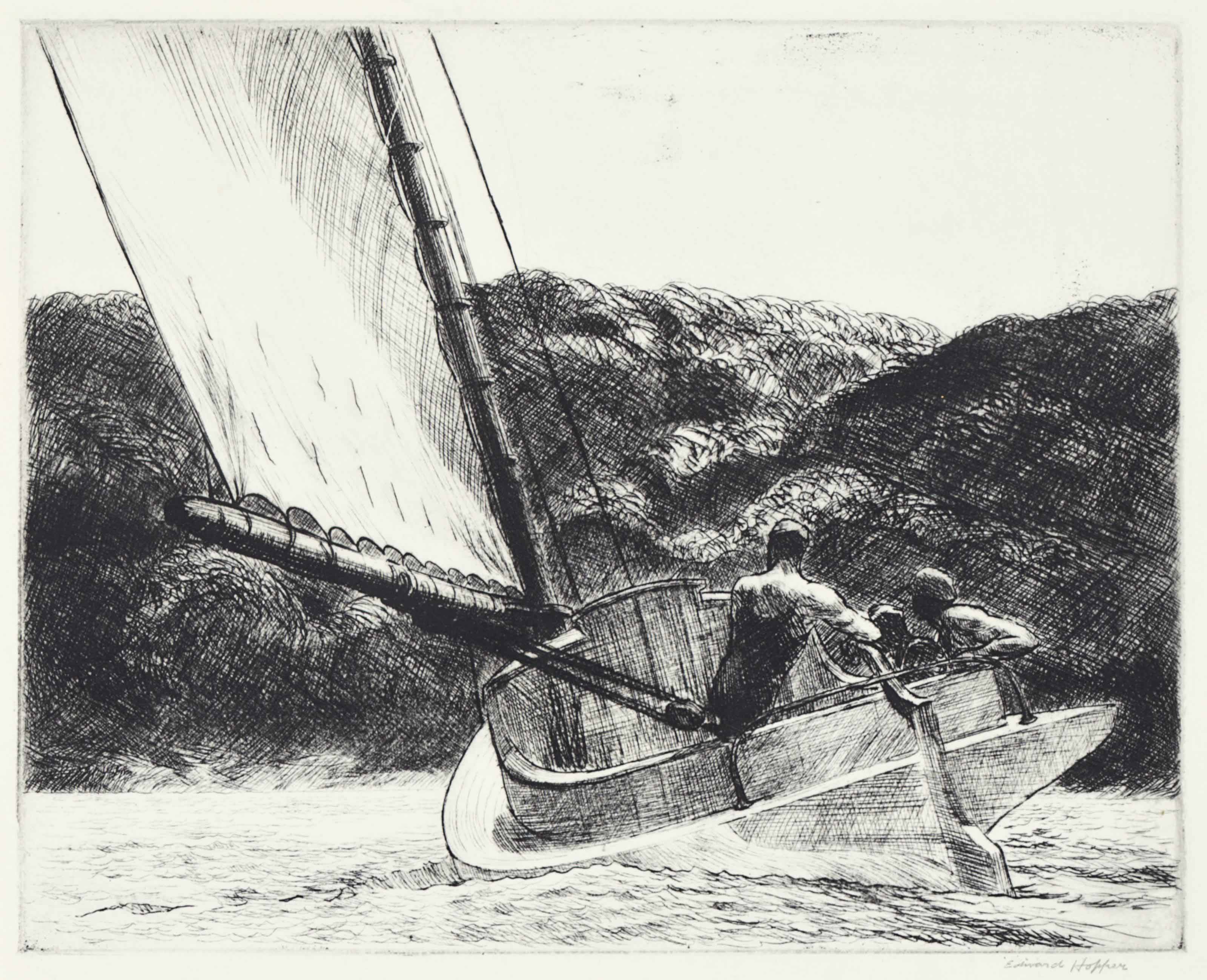 Two Point Perspective Example- Edward Hopper, 'The Catboat', etching on paper, 200 x 250 mm, image curtesy of Christies