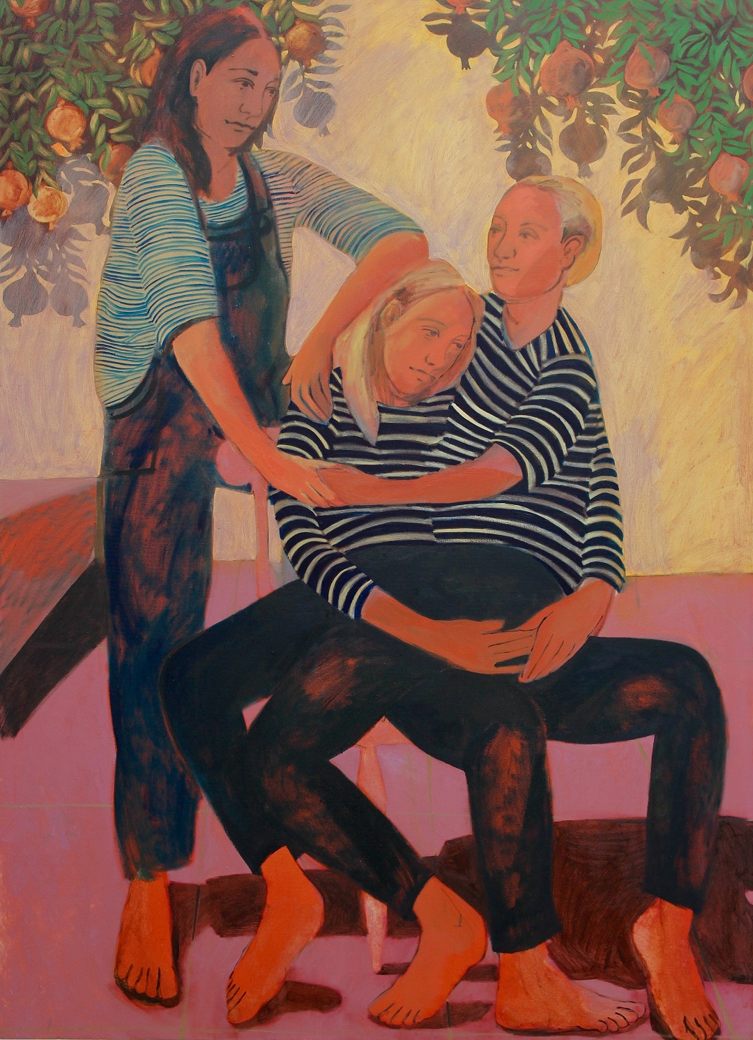 1 2 3 Sit On My Knee Nettle Grellier Oil on Canvas, 166cm x 120cm, 2019