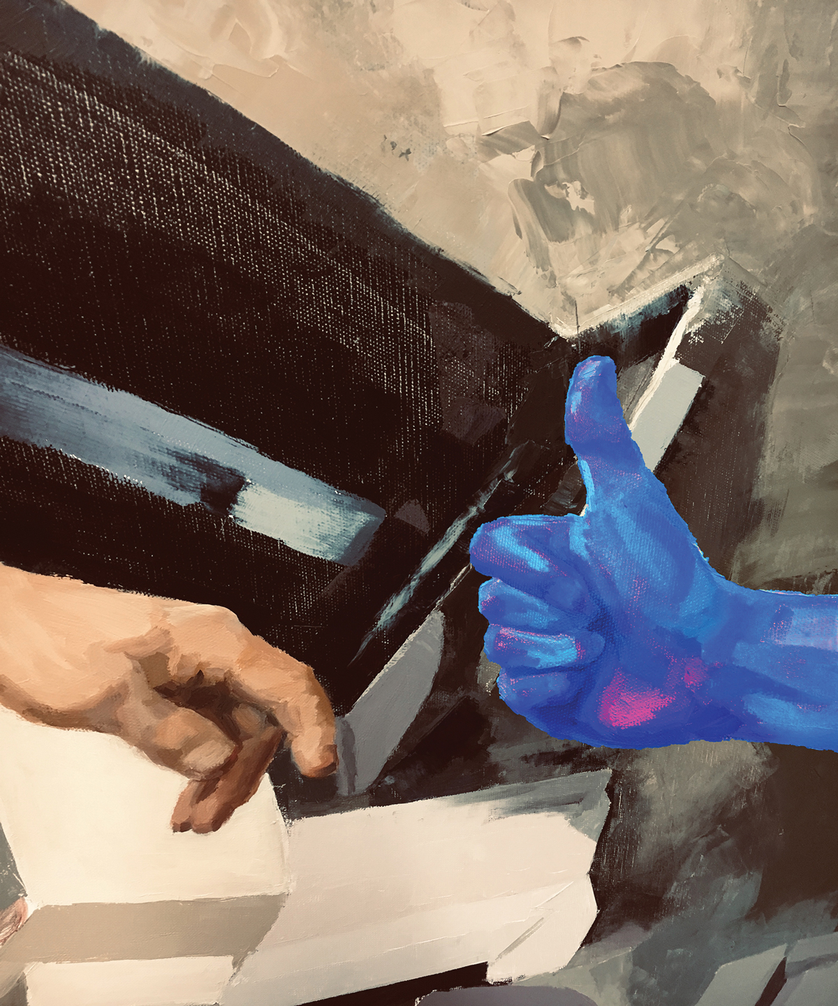 Chantal AuCoin, Detail from <em>Creation of Human 2.0</em>, oil on canvas, 183 x 122 cm (x2)