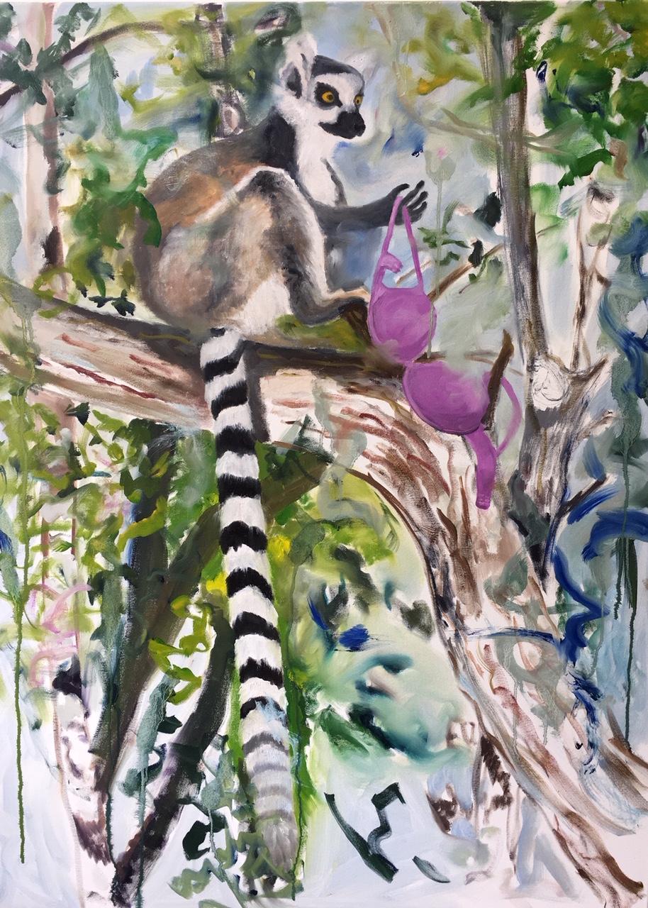 Sonia Stanbury, <em>Lemur with a bra</em>,<br />91x122 cm, oil paint on canvas
