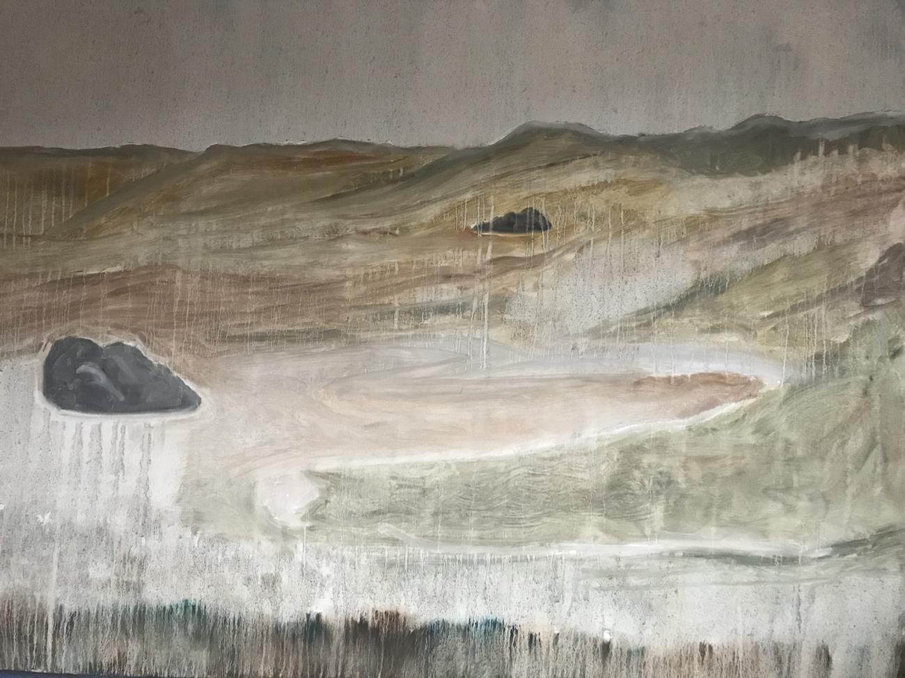 Seema Manchanda, <em>The London Stone</em>,<br>Oil on Canvas, <br>4ft x 3 ft