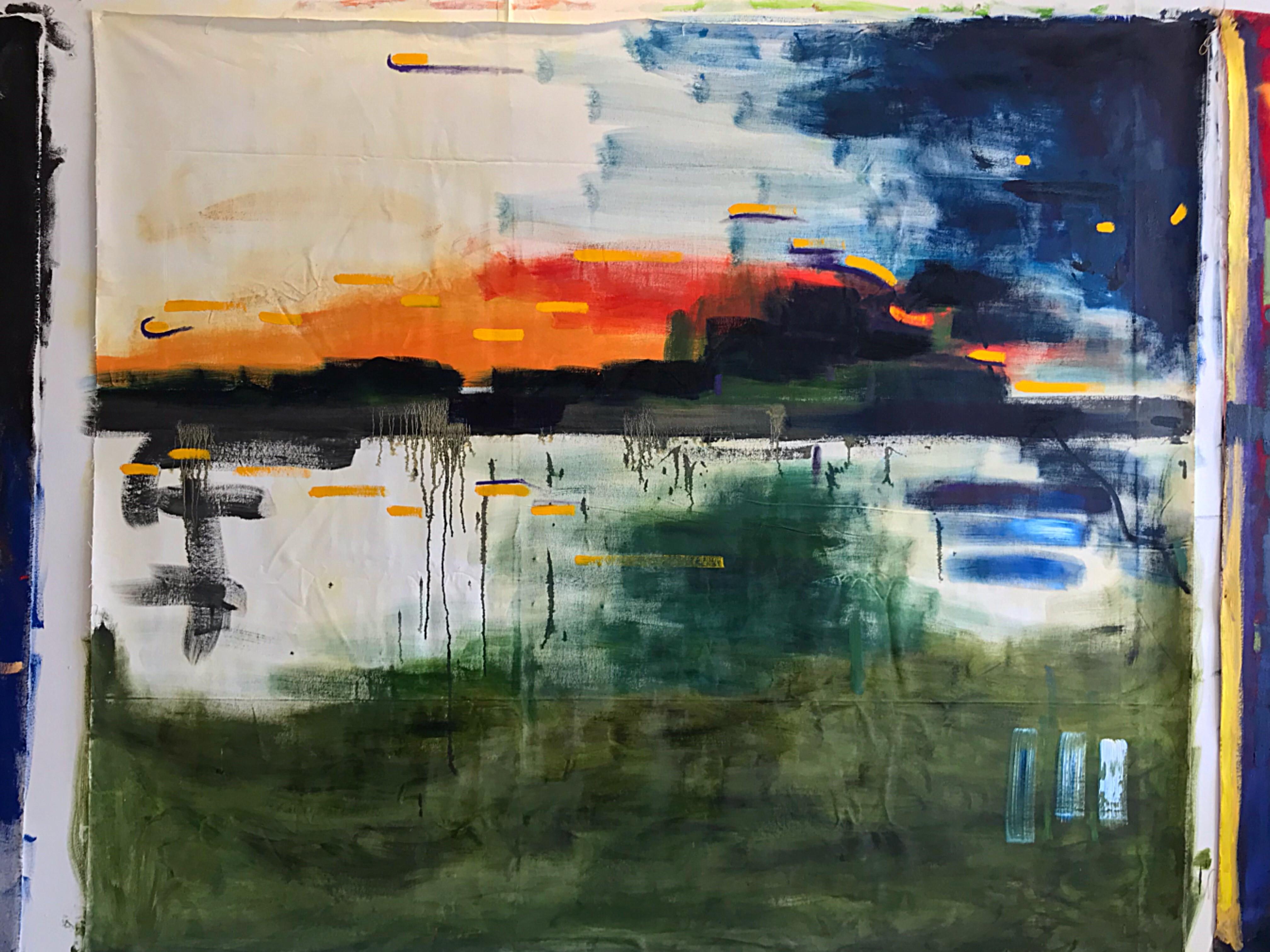 Jeremie Queyras, <em>III. Scène aux champs from Symphonie fantastique by Berlioz</em>, Oil on loose canvas, 200 x 185 cm