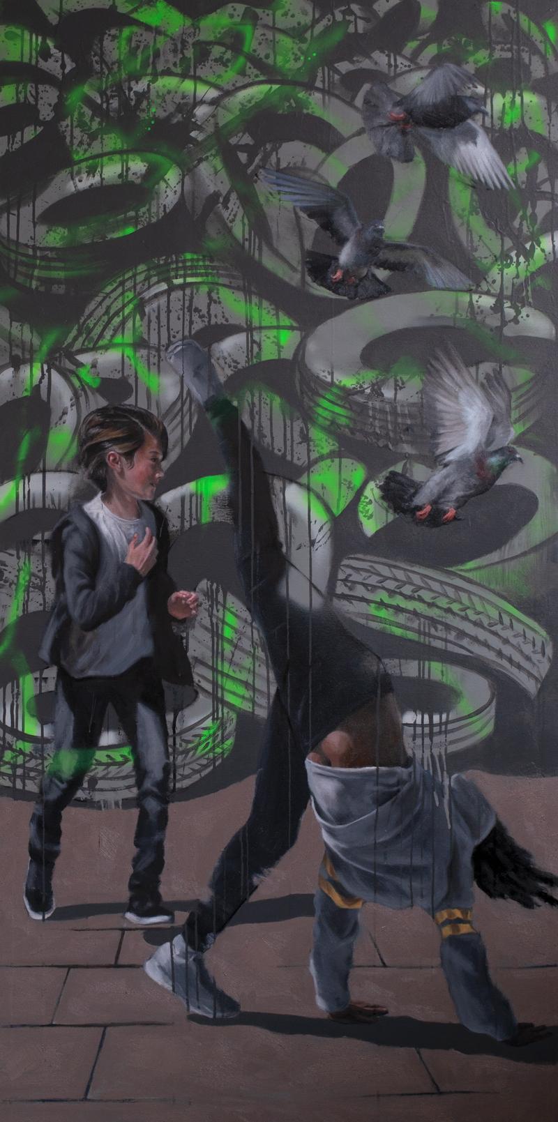 Troy Stuart, <em>Adapt</em>,<br> mixed media on canvas, 150 x 80cm
