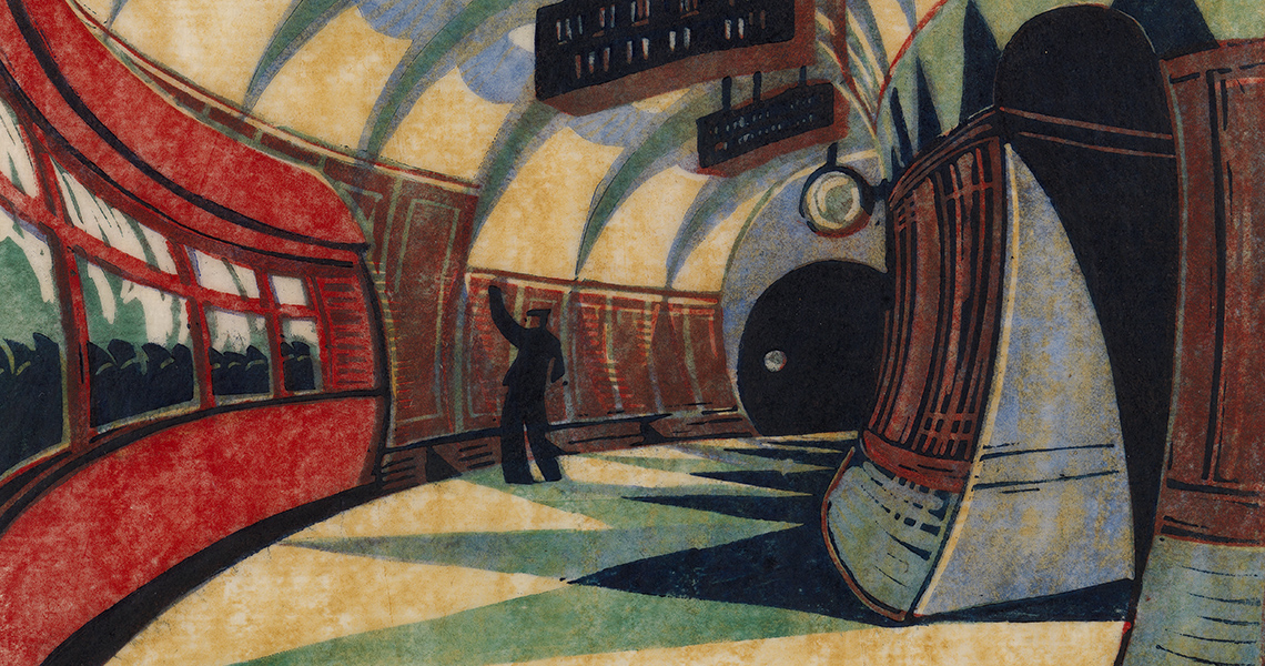Art Exhibition on Now - Cyril Edward Power, The Tube Station, 1932, Linocut, 26 x 30 cm