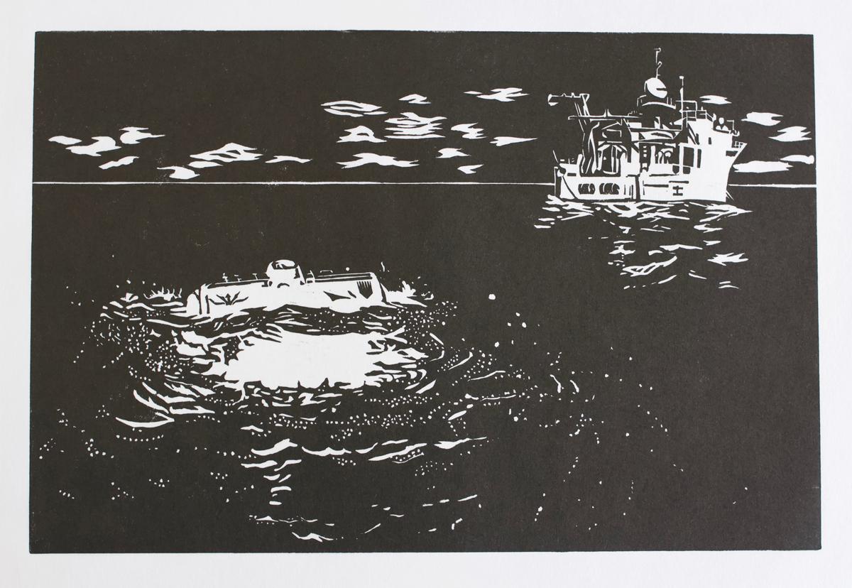 Pressure Drop & Limiting Factor a lino print on shoji paper, Alex Gould