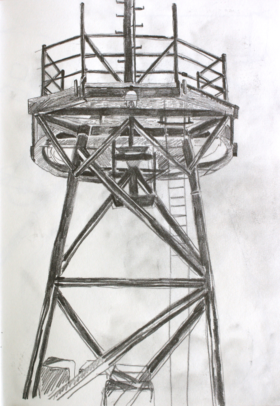 Sketch of the Satellite tower aboard the Pressure Drop, Alex Gould