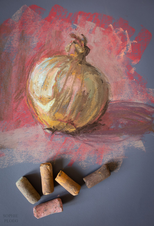 Sophie Ploeg's painting of an onion using soft pastels