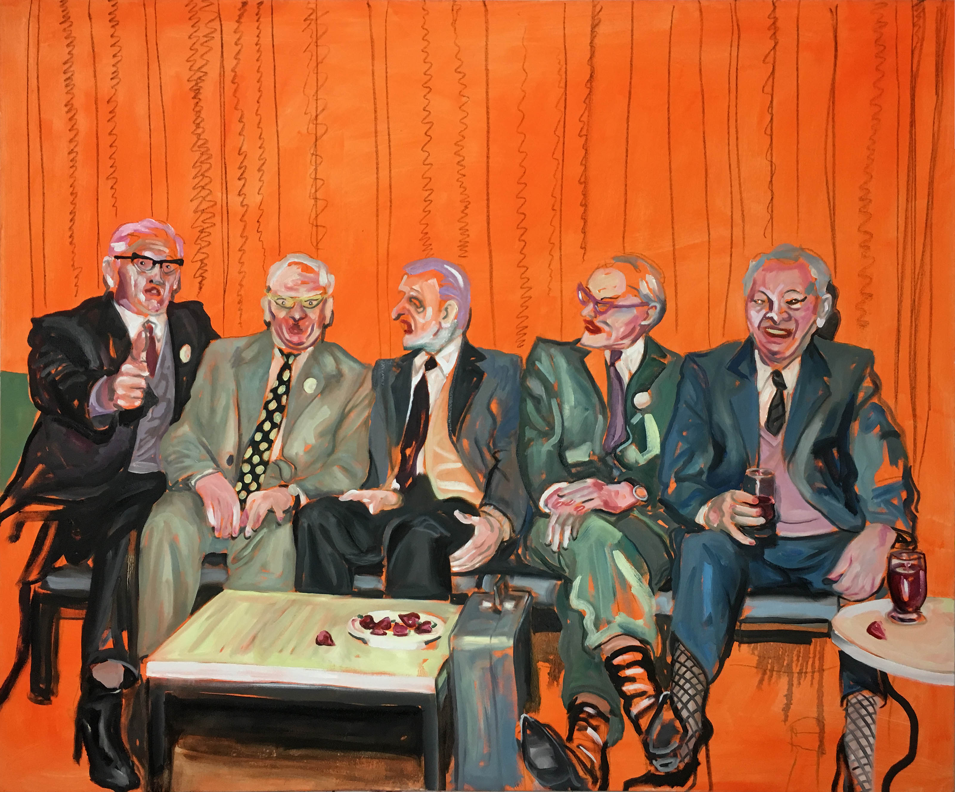 'Friends That Cross Together Stay Together', 2018 Adam Baker Oil on canvas, 150cm x 180cm
