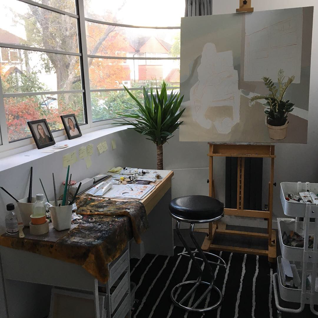 William GC Brown's studio at the time of painting 'Renda / Mirrored', 2018