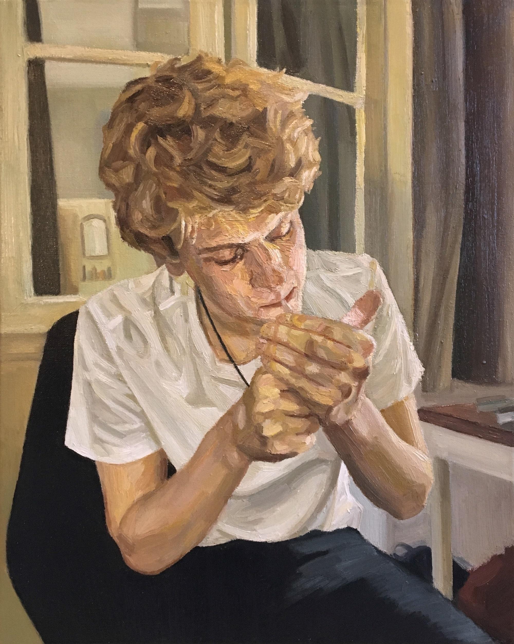 The Parisian, 2015 William GC Brown oil on canvas, 50cm x 40cm