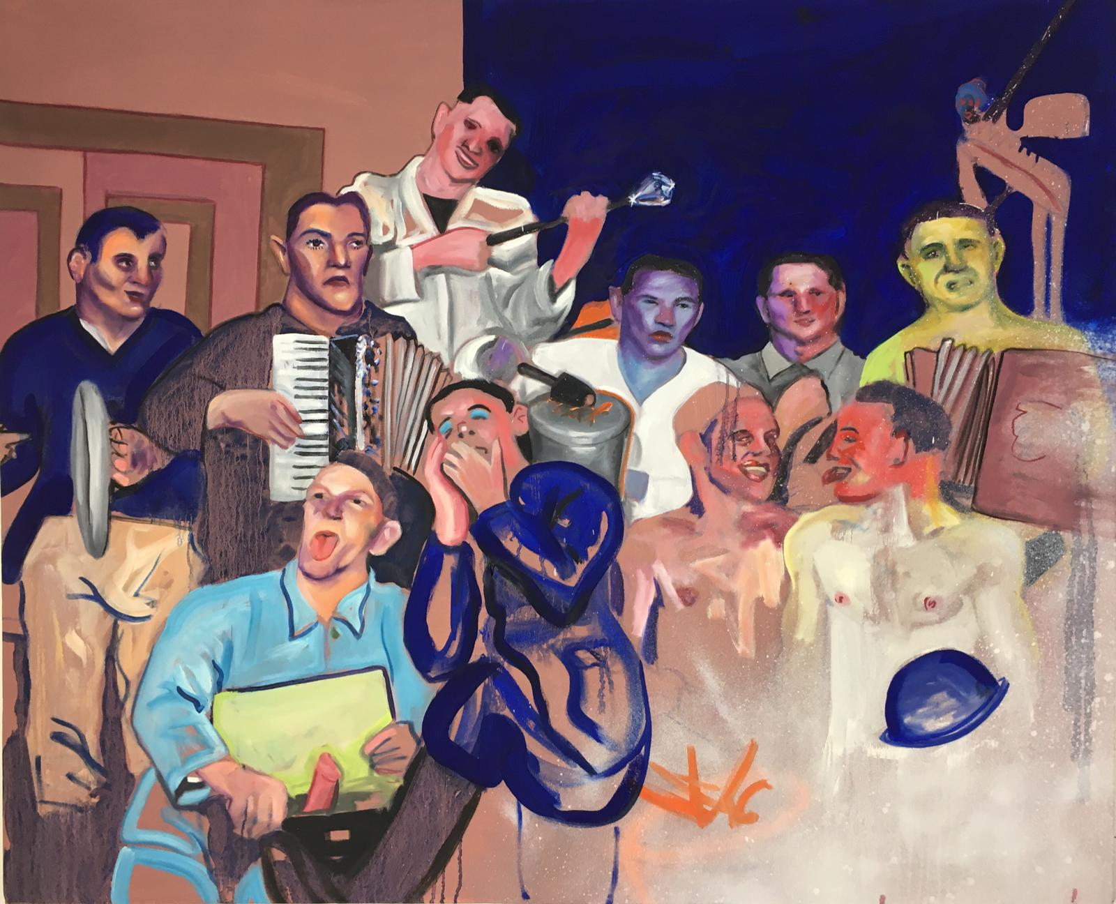'Band Beating Drums', 2019 Adam Baker Oil on canvas, 120cm x 150cm