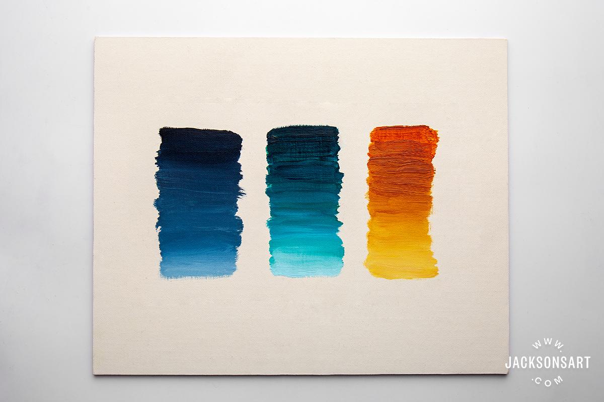Michael Harding Indigo, Caribbean Turquoise and Quinacridone Gold gradients