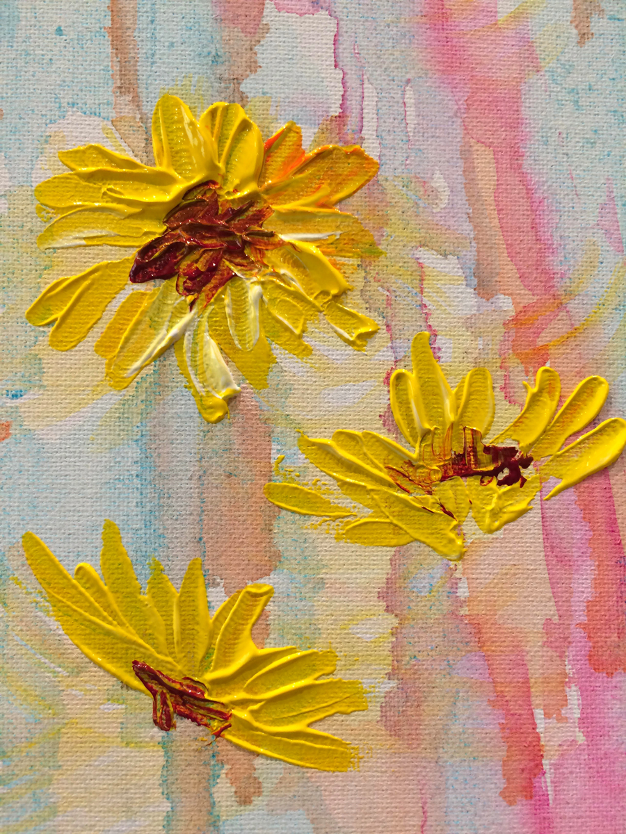 Sunnyside Up (detail) – initial washes and painting-knife flower heads, Andrea Hook
