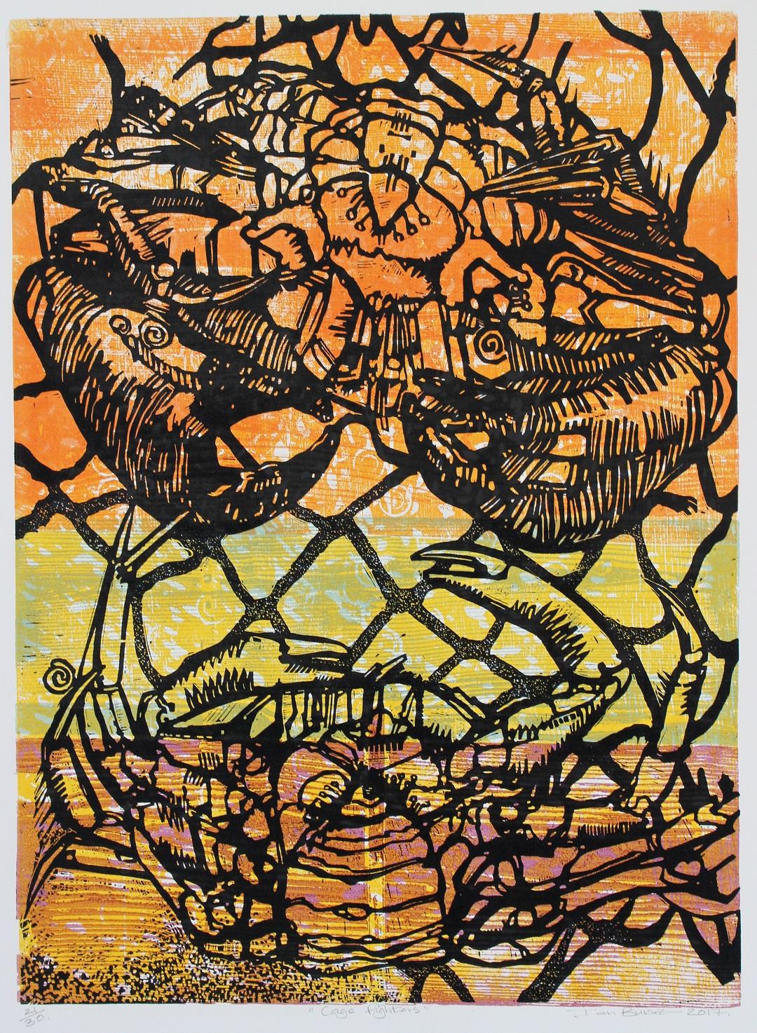 'Cage Fighters' Ian Burke Woodblock print, 55cm x 85cm, 2018