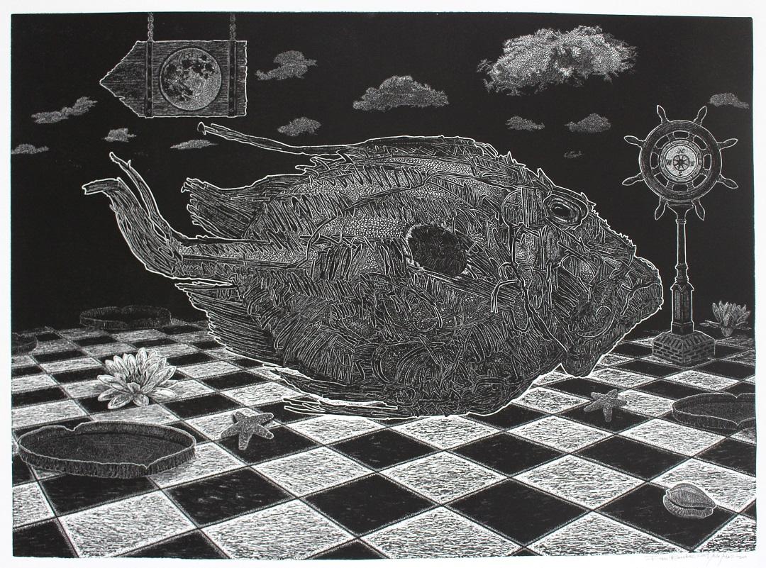 'John Dory' Ian Burke and Ade Adesina Linocut print, 50cm x 60cm, 2019