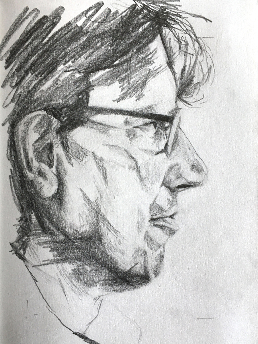Sketch of The Ice Pilot Ben Lyons of EYOS Expeditions