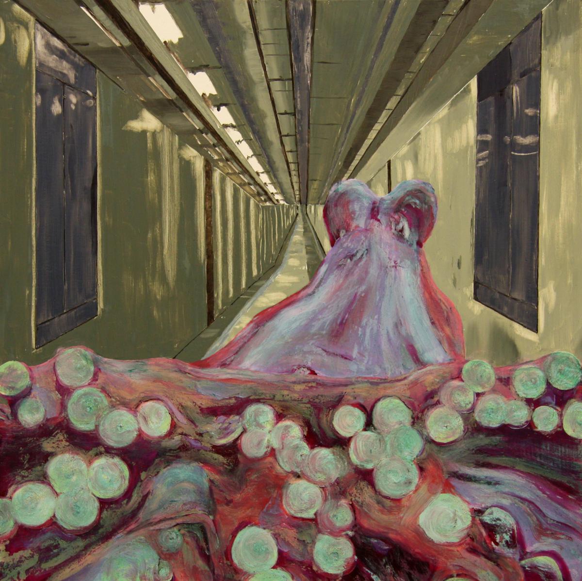 Hey Sucker (2016), Fiona Long, oil on board, 50 x 50 cm