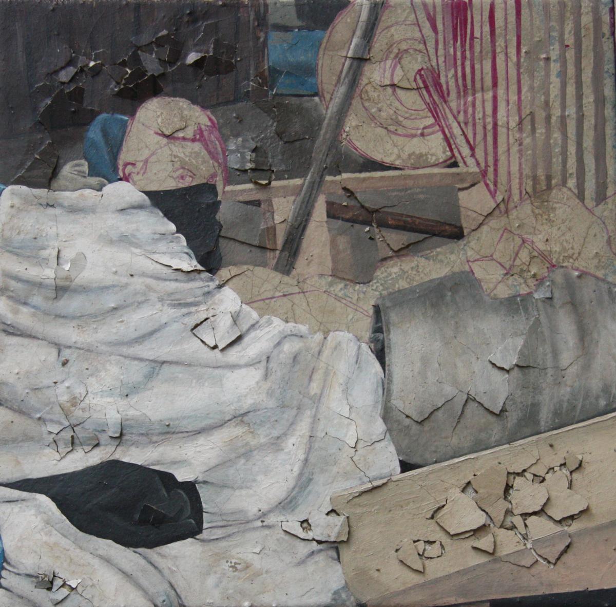 Dana (2011), Fiona Long, oil and concrete on canvas, 50x50cm