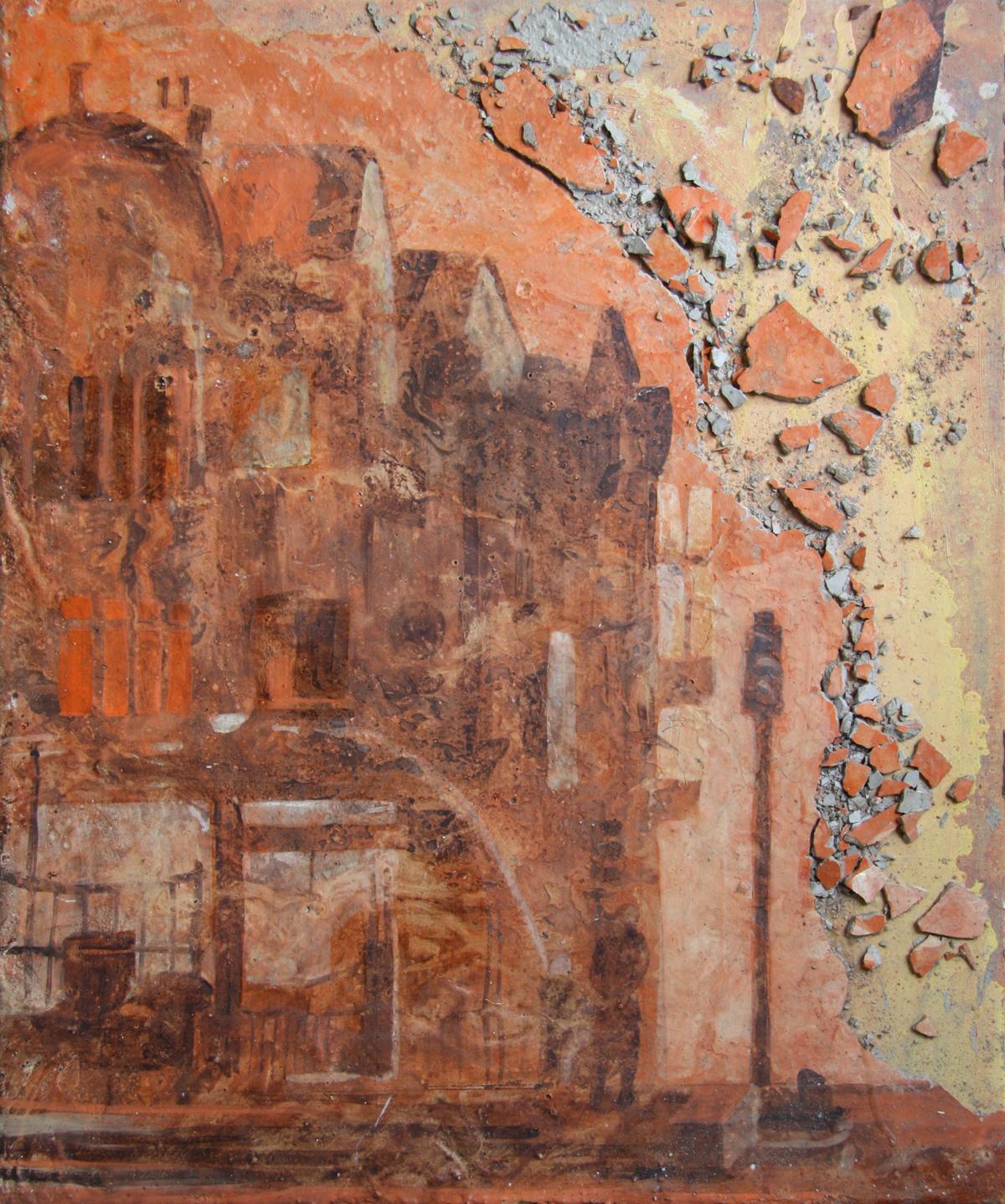 Croydon 2011 (2011), Fiona Long, oil and concrete on canvas, 50 x 60 cm