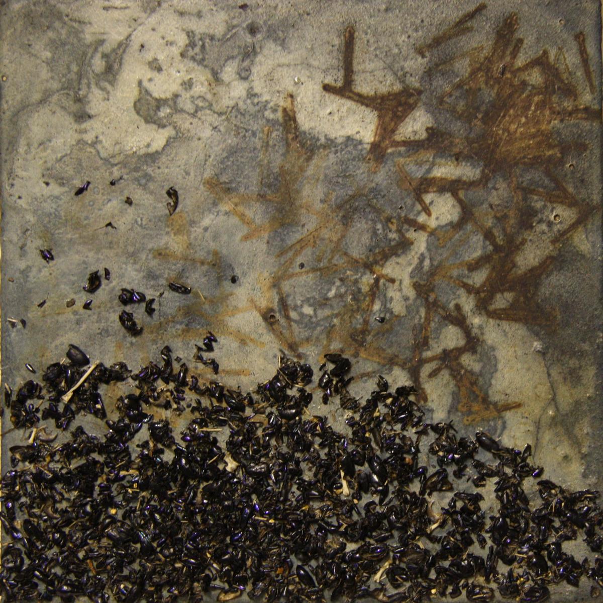 Urban Fox, Rural Fox (2012), Fiona Long, fox shit, rust, genuine indigo, and concrete on canvas, 30 x 30 cm
