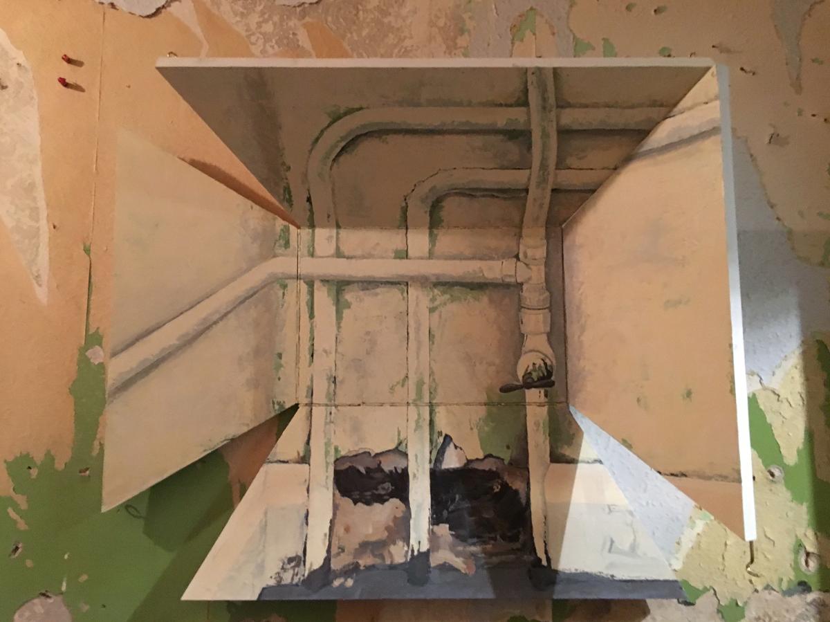 Pipewerk (2014), Fiona Long, oil on hinged board, 70 x 60 x 20 cm