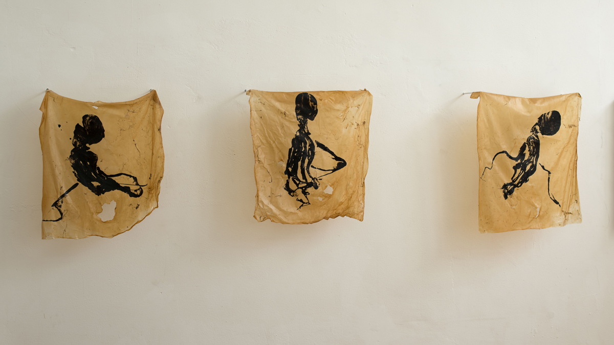 Squinkulous (2016), Fiona Long, squid ink on biofilm, each 40 x 50 cm
