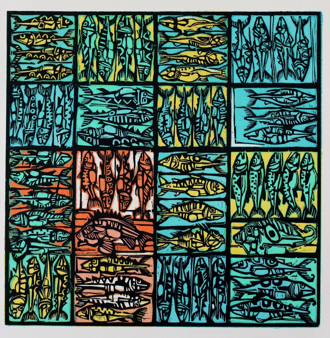 'Fish Boxes' Ian Burke Woodblock print, 57cm x 60cm, 2018