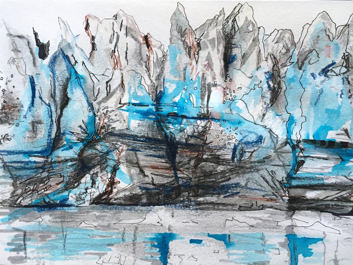 Glacial face sketch, Alexandra Gould
