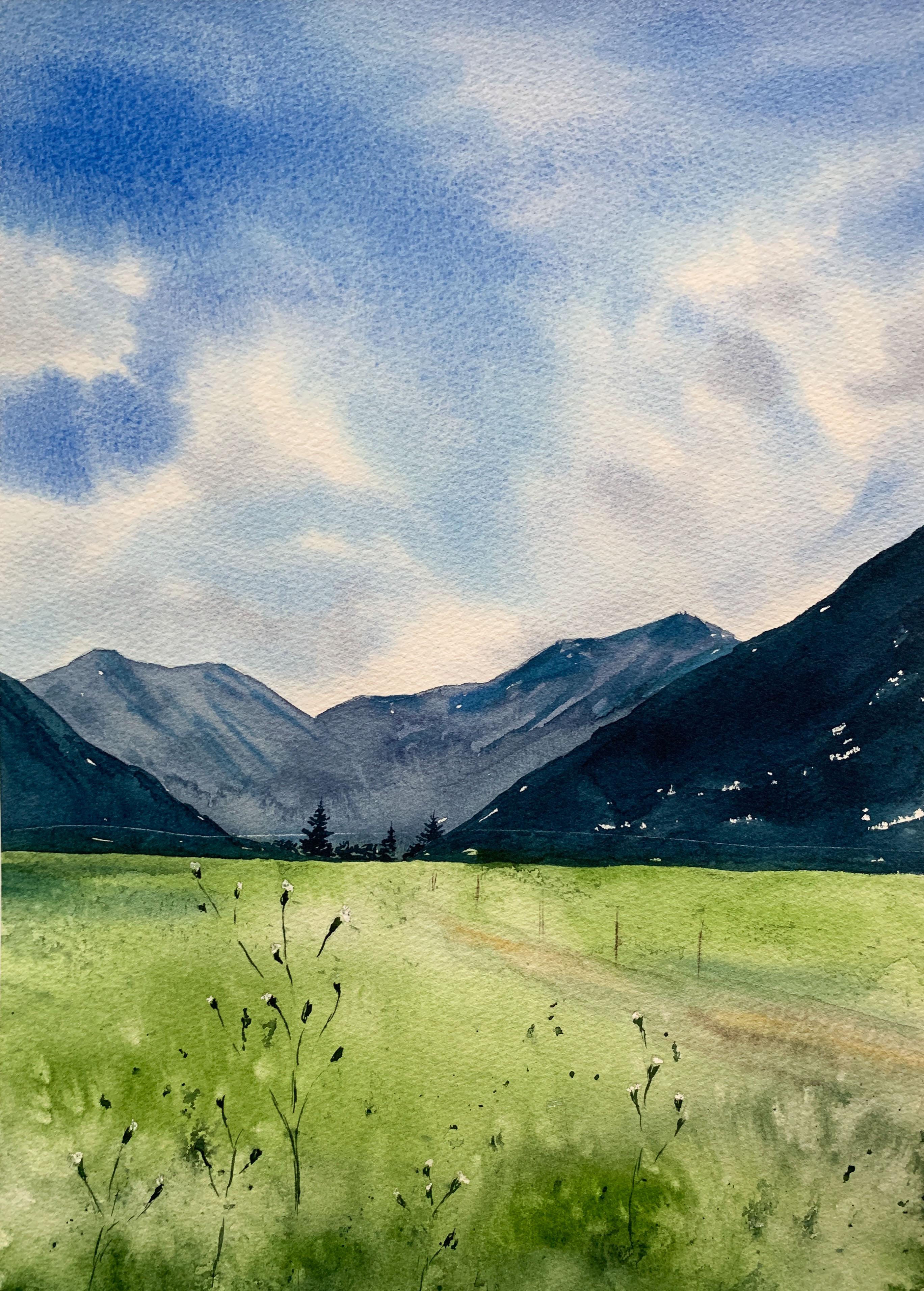 Landscape with using Granulating pigments by Anna Zadorozhnaya