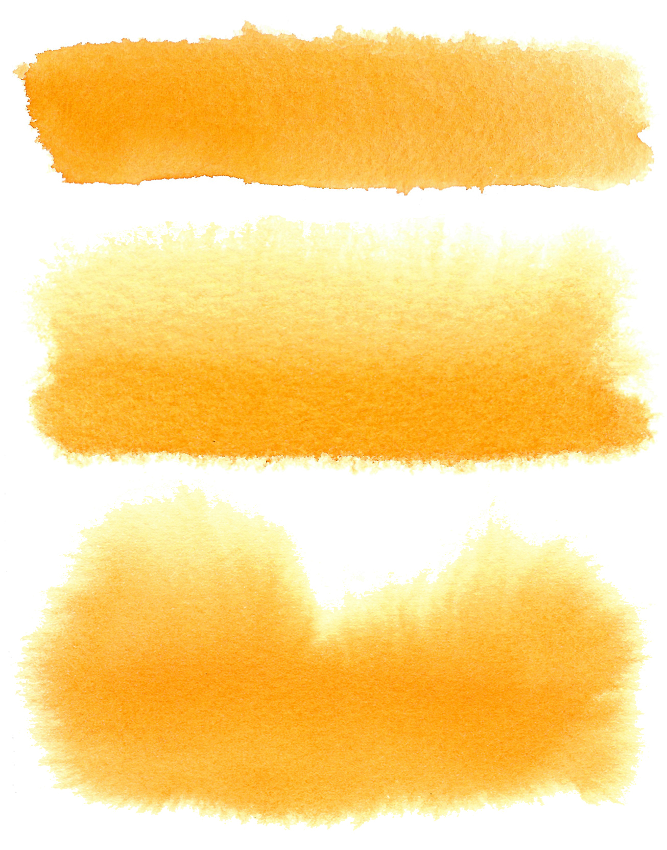 PY110 active in wet: Dispersement of PY110 when applied to wet papers. Top, applied to surfaced dampened paper with no sheen. Middle, applied to saturated paper with no sheen. Bottom, applied to saturated paper with visible sheen.
