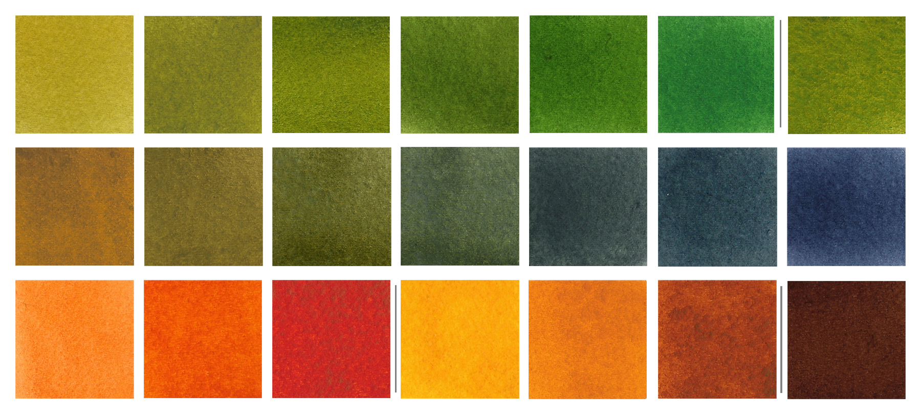 PY110 mixes: Top row, PY110 mixed with Phthalo Green (PG7) with the exception of the last swatch that showcases the beautiful granulation achieved when mixing PY110 with Viridian. Middle row, a small sampling of natural greens achieved when mixing PY110 with a standard palette blue like Ultramarine (PB29). Bottom row, a gorgeous range of brilliant corals to deep earths that results when mixing PY110 with violets and reds like (from left) Quin Rose (PV19), Transparent Red Oxide (PR101), and Perylene Violet (PV29).