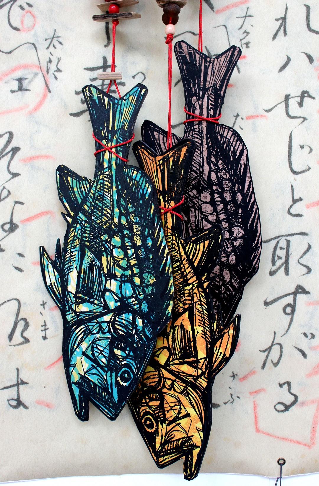 'Fishing For A Girl 2' Ian Burke Woodblock print and mixed media, 107cm x 180cm, 2019