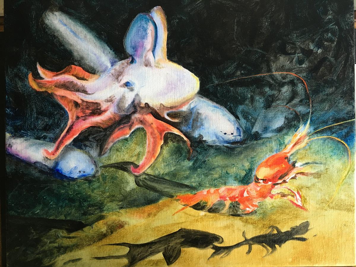 Sketch of deep sea life, Alexandra Gould