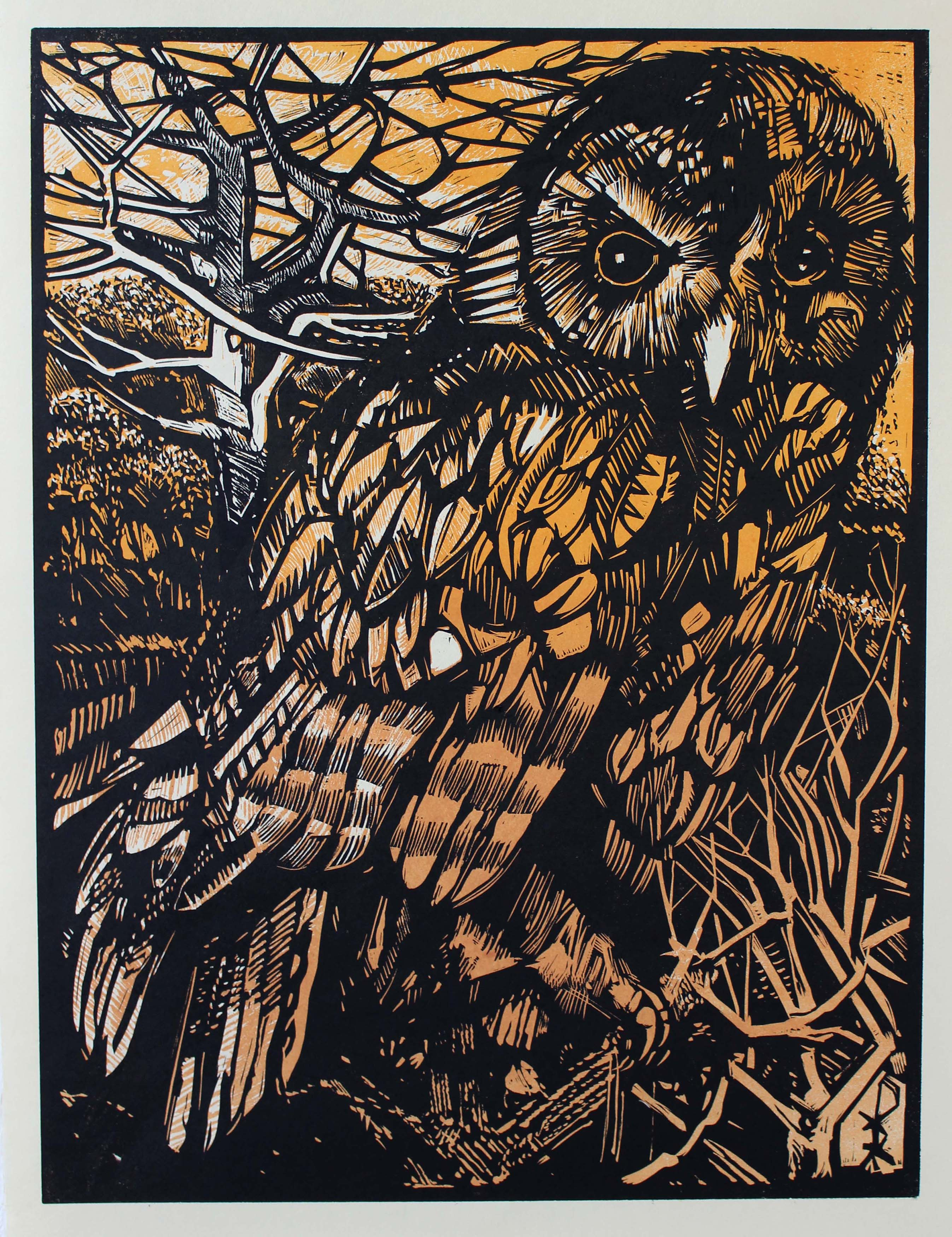'Stonegate Owl' Ian Burke Woodblock and Etched Lino Print, 2019
