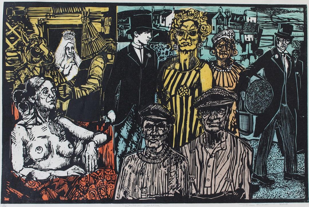 'Whitsun Wedding' Ian Burke Woodblock print, 55cm x 85cm, 2018