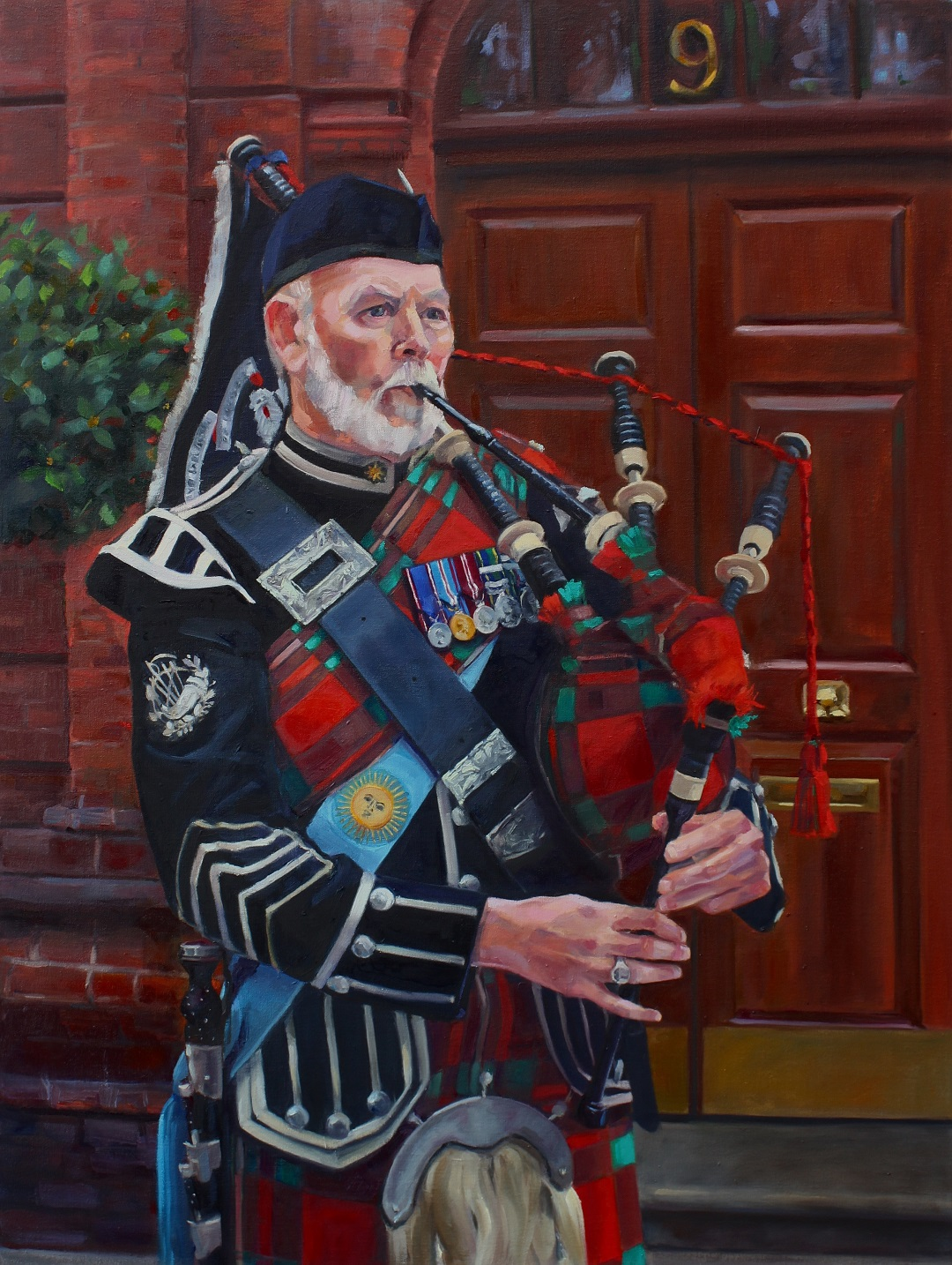 Pipe Major Ian King Jenny Fay Oil on Linen , 101cm x 76cm