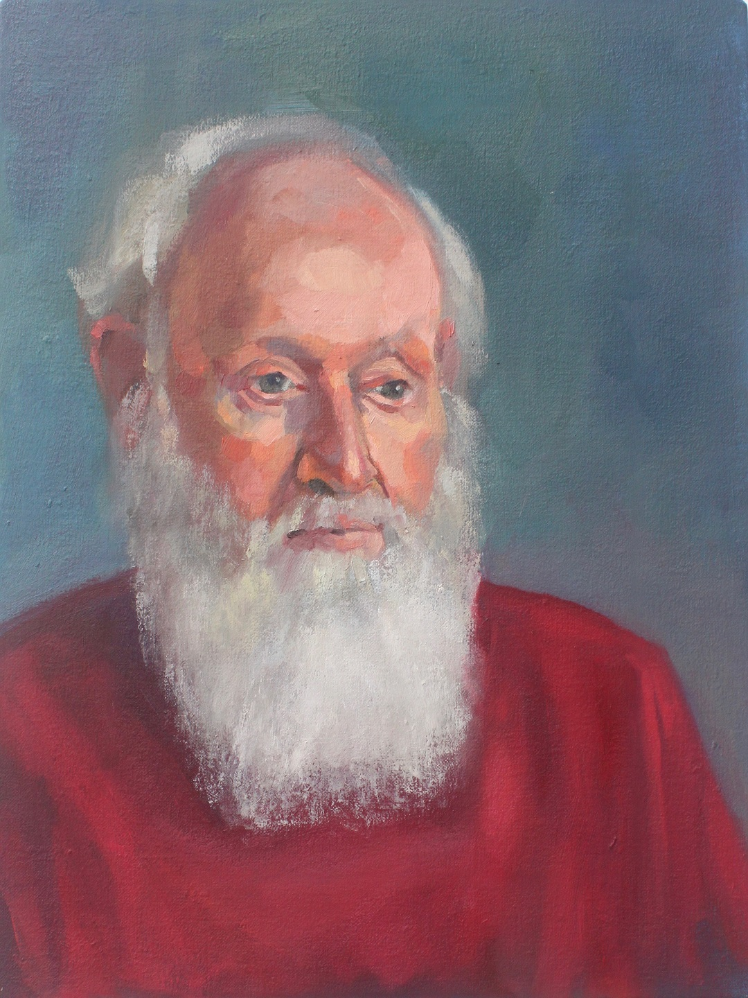 Portrait of a Bearded Man Jenny Fay Oil on Linen 40cm x 30cm