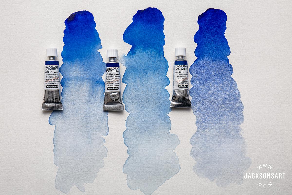 Comparing the three ultramarine blues available from Schmincke Horodam Watercolour