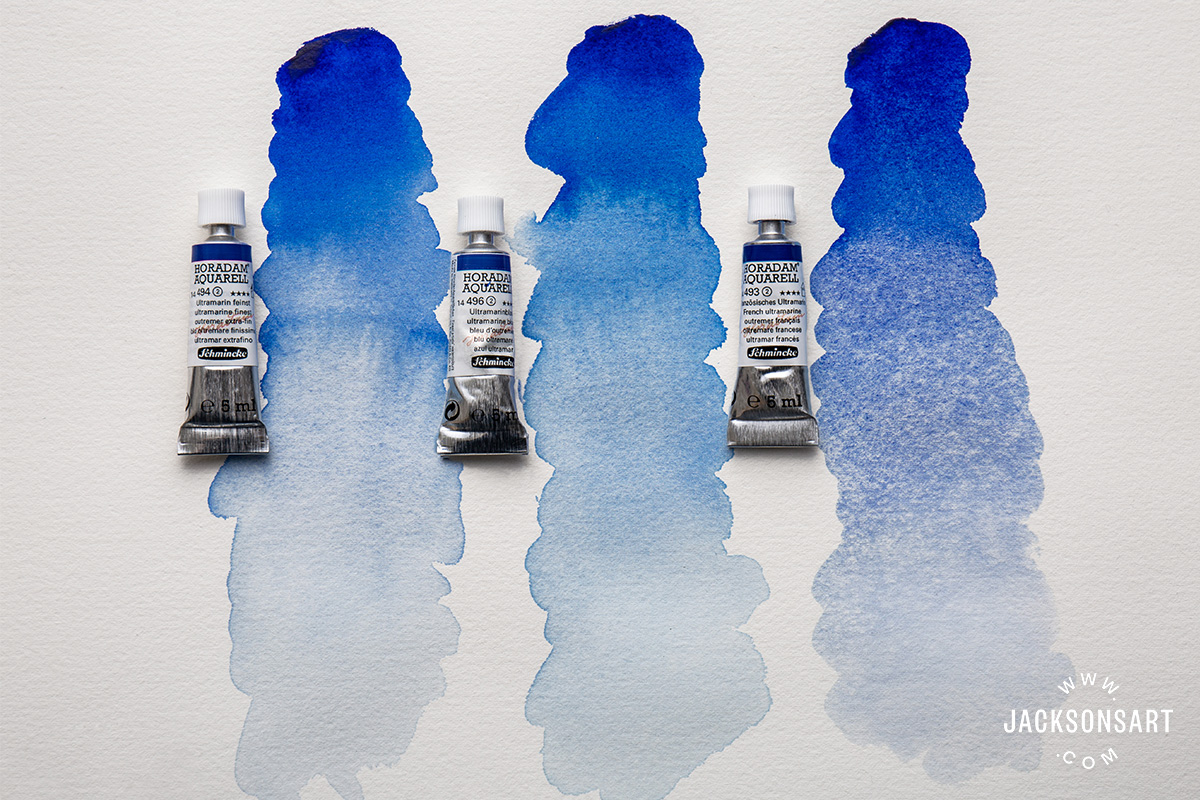 three ultramarine blue watercolour paints by Schmincke