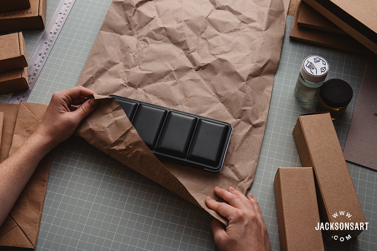 Our protective brown paper that can be used as a filler or wrap items is made of 100% recycled paper and completely recyclable and home compostable