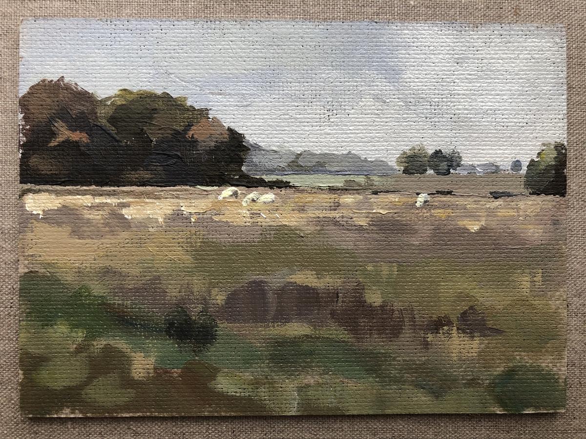 <em>Abingdon Fields</em>, Maggie Levien,<br> acrylic painted on Handmade linen board 7 x 5 in
