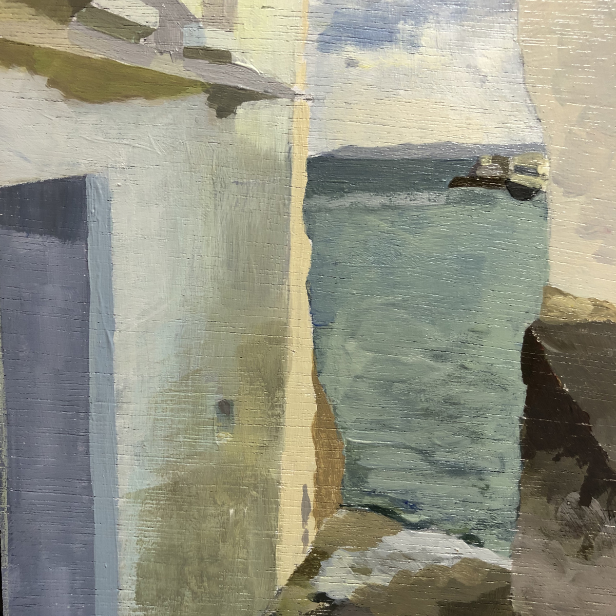 <em>Passage to the sea St Mawes</em>(detail), Maggie Levien, showing wood grain, 5 x 7 in, acrylic on Jackson's Wooden Painting Panel