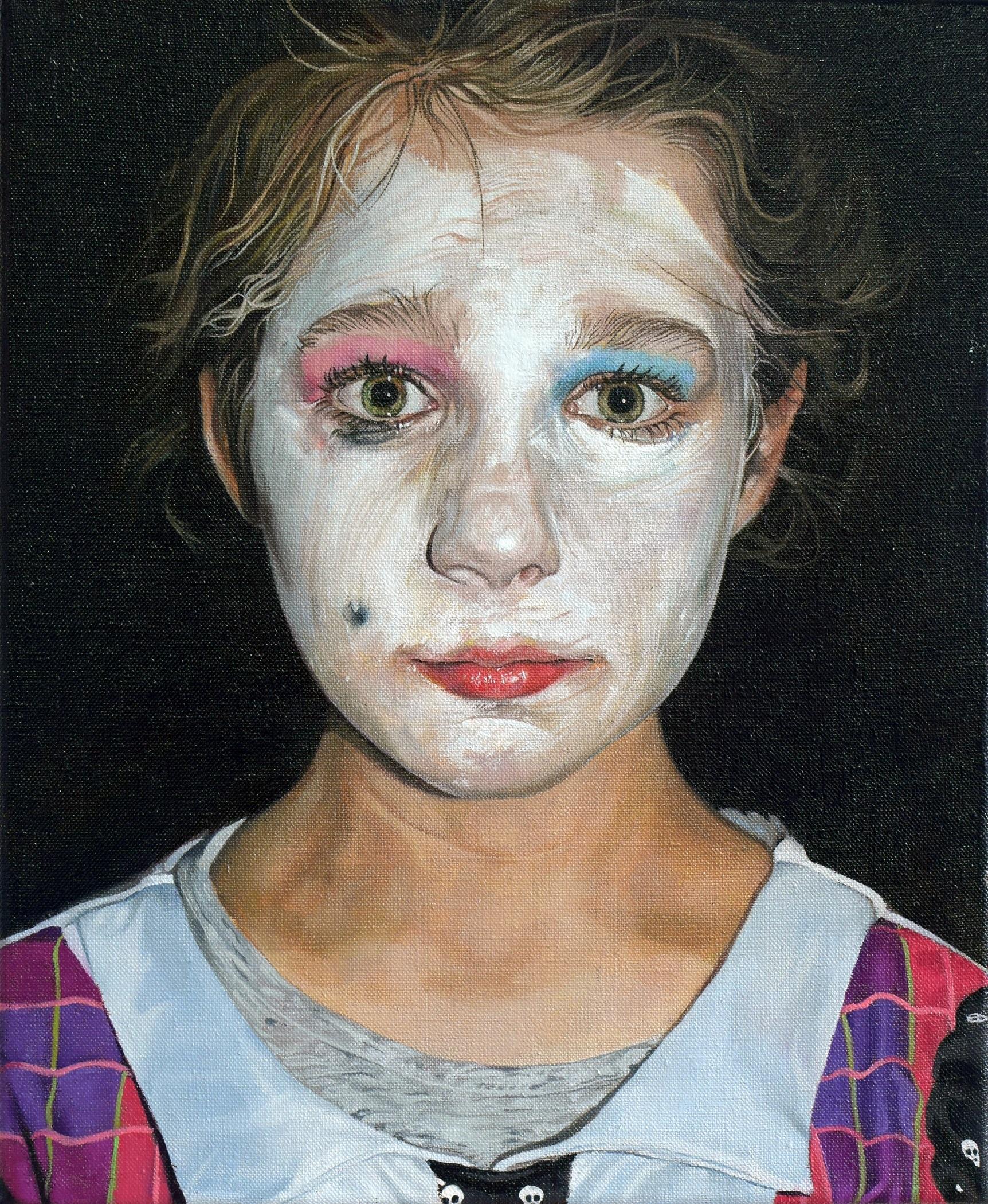 Behind The Doll Face Catherine MacDiarmid Oil on linen, 30 cm x 25 cm
