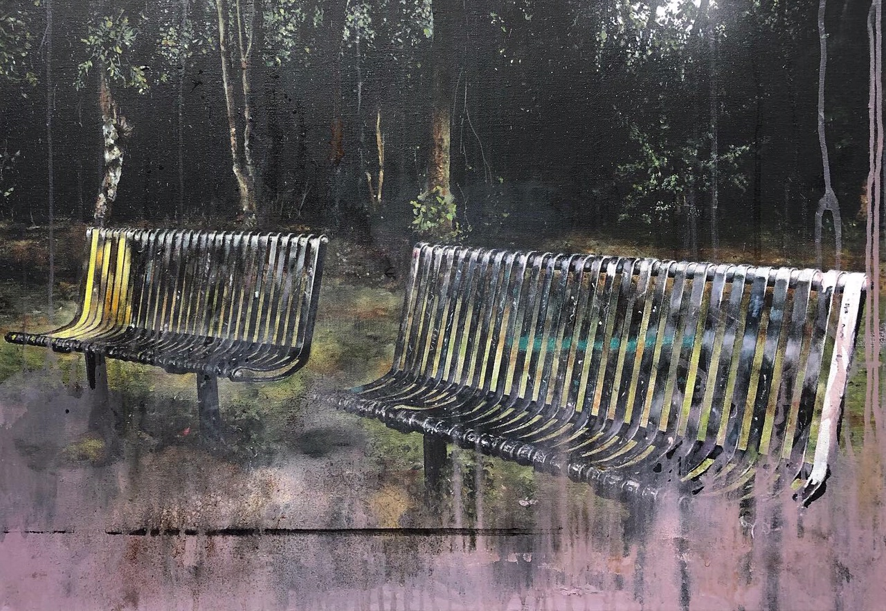 Chris Campbell Oil Painting Of Benches