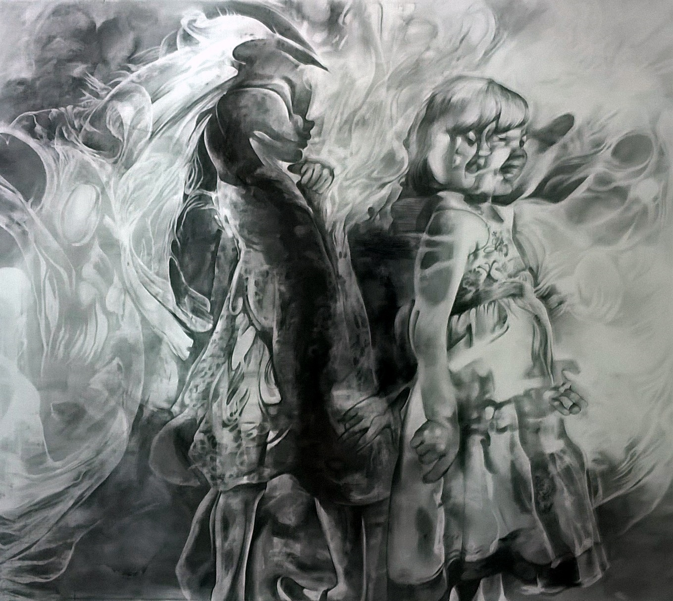 Personal Space - Angel Catherine MacDiarmid Charcoal on Paper, 97 cm x 36 cm