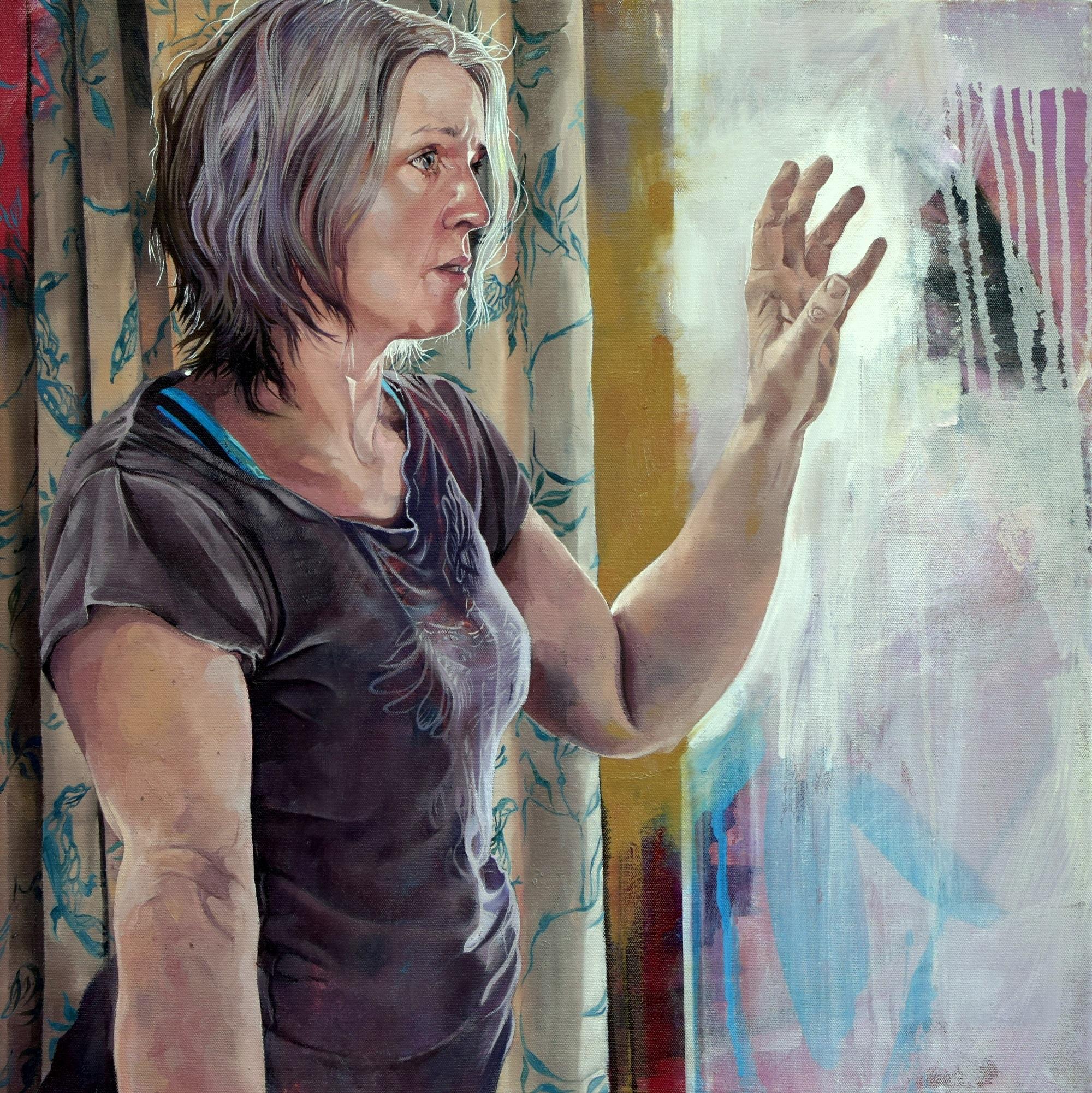 Self Portrait Reaching Catherine MacDiarmid Oil on canvas, 45cm x 45cm