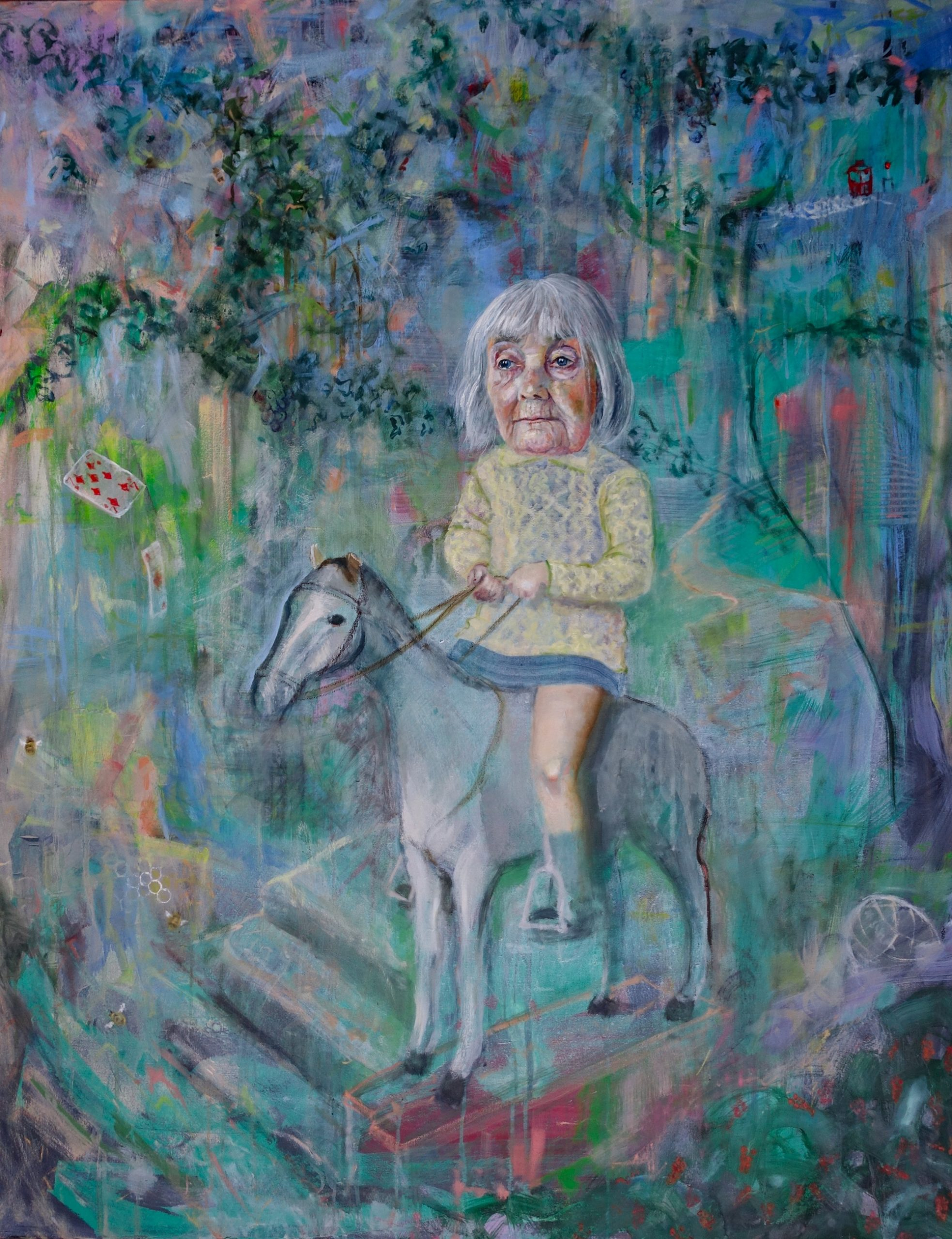 The stone horse, 2018 Jennifer Nieuwland Oil, pastel and chalk on canvas, 100 x 80 cm