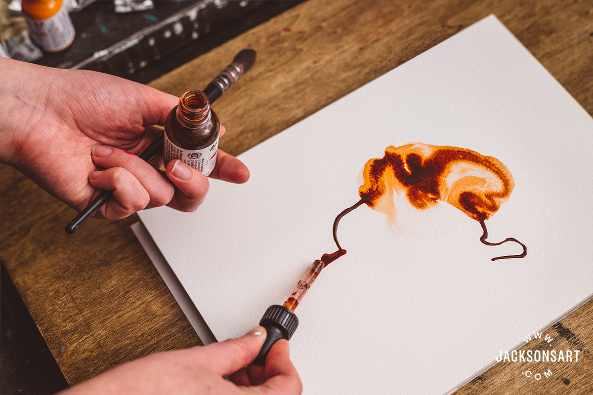 Drawing with Burnt Sienna Aqua Drop using the pipette