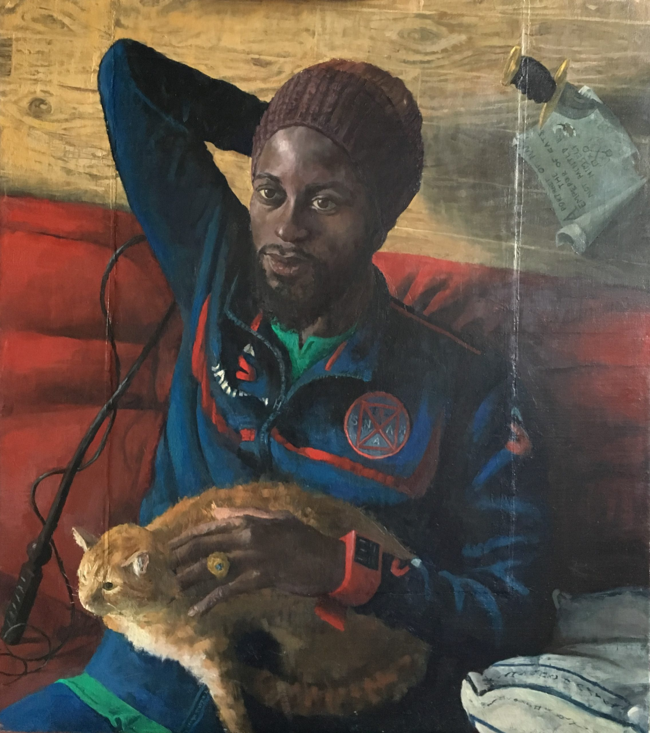 Emperor Of Cats Sam Rachamin Oil on linen mounted on wood, 80 x 90 cm